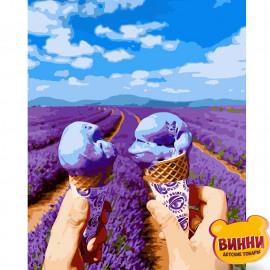 Купити картину за номерами Strateg Яскраве морозиво у полі лаванди, 40*50 см, VA-2929