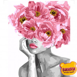 Купити картину за номерами Strateg Дівчина з рожевими півоніями, Квітуча краса, 40*50 см, VA-3121