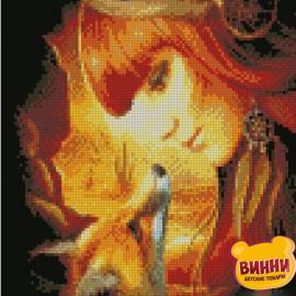 Купити алмазну мозаїку STRATEG Дівчина з лисицею, 30*40 см, HX367