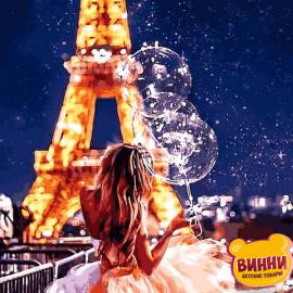 Купить картину по номерам Mariposa Девушка с шариками в Париже, 40*50 см Q2272