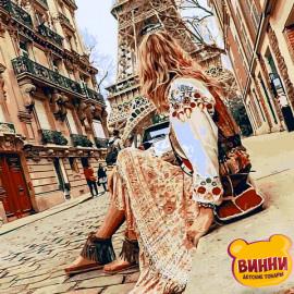 Купить картину по номерам Mariposa Девушка в Париже, 40*50 см Q2273