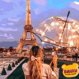 Купить картину по номерам Mariposa Девушка с зонтом в Париже, 40*50 см Q2274