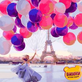 Купить картину по номерам Mariposa Девушка с шариками в Париже, 40*50 см Q2275
