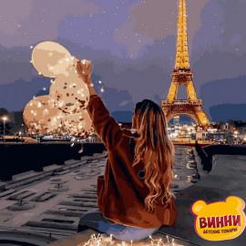 Купить картину по номерам Mariposa Девушка с шариками в Париже, 40*50 см Q2276