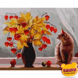 Купити картину за номерами Ідейка, Чарівний фізаліс, осінній букет та котик © Ольга Воробьева , 40*50 см, KHO4229