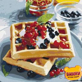 Купити картину за номерами Ідейка, Бельгійські вафлі з ягодами ©alonka_good, 30*30 см KHO5612