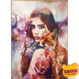 Купити алмазну мозаїку Дівчина з лисицею, 30*40 см, на підрамнику, в коробці, H8716