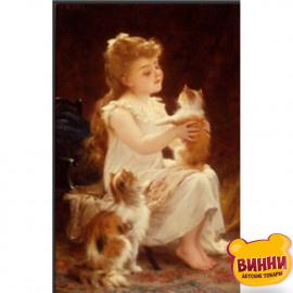 Дівчина з кошенятами, 30*40 см, на підрамнику, в коробці, H8677