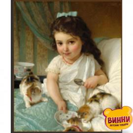 Купити алмазну мозаїку Дівчина з кошенятами, 30*40 см, на підрамнику, в коробці, H8678