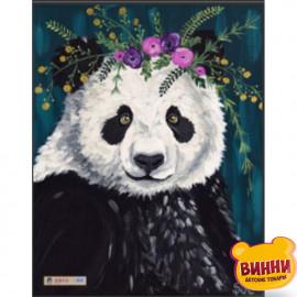 Купити алмазну мозаїку Панда у віночку, 30*40 см, на підрамнику, в коробці, H8681