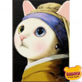 Купити алмазну мозаїку Кішка з перловою сережкою, 30*40 см, на підрамнику, в коробці, H8694