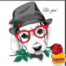 Купити алмазну мозаїку Пес-джентельмен з трояндою, 30*40 см, на підрамнику, в коробці, H8695