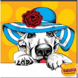 Купити алмазну мозаїку Собачка у капелюсі, 30*40 см, на підрамнику, в коробці, H8696