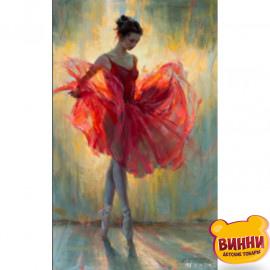 Купити алмазну мозаїку Балерина у червоному, 30*40 см, на підрамнику, в коробці, H8699