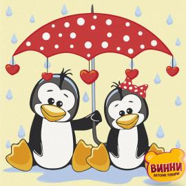 """Купить картину по номерам Art Craft 30*30 см """"Пингвины под зонтом"""" 15543"""