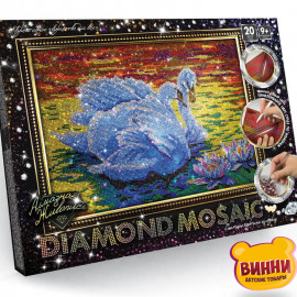 """Набор для творчества """"Алмазная мозаика Diamond mosaic"""", 30*40 см, в коробке, лебеди"""